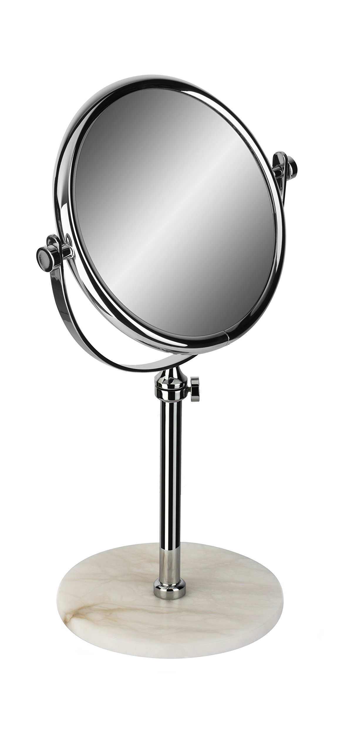Alabaster Table Double Sided Extendable Cosmetic Makeup Magnifying Mirror (Polished Chrome, 3X Magnification)