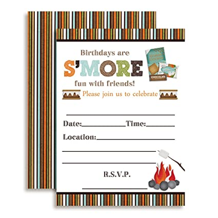 SMore Fun With Friends SMores Themed Birthday Party Invitations 20 5quot