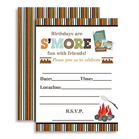 Amazon SMore Fun With Friends SMores Themed Birthday Party Invitations 20 5x7 Fill In Cards Twenty White Envelopes By AmandaCreation Toys