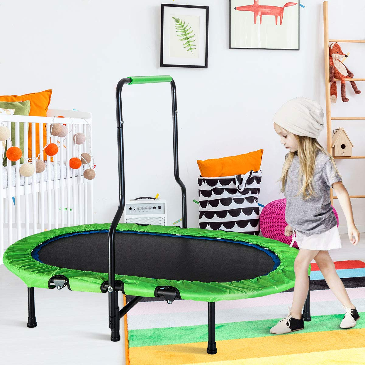 Merax Mini Rebounder Trampoline with Handle for Two Kids, Parent-Child Trampoline (Green) by Merax (Image #2)