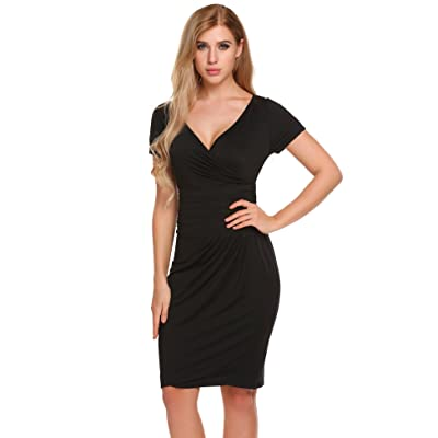 ACEVOG Damen Wickelkleid Sommer V-Ausschnitt Bodycon Sexy Etuikleid Business Kleid Party Kleid mit Kurzarm Knielang