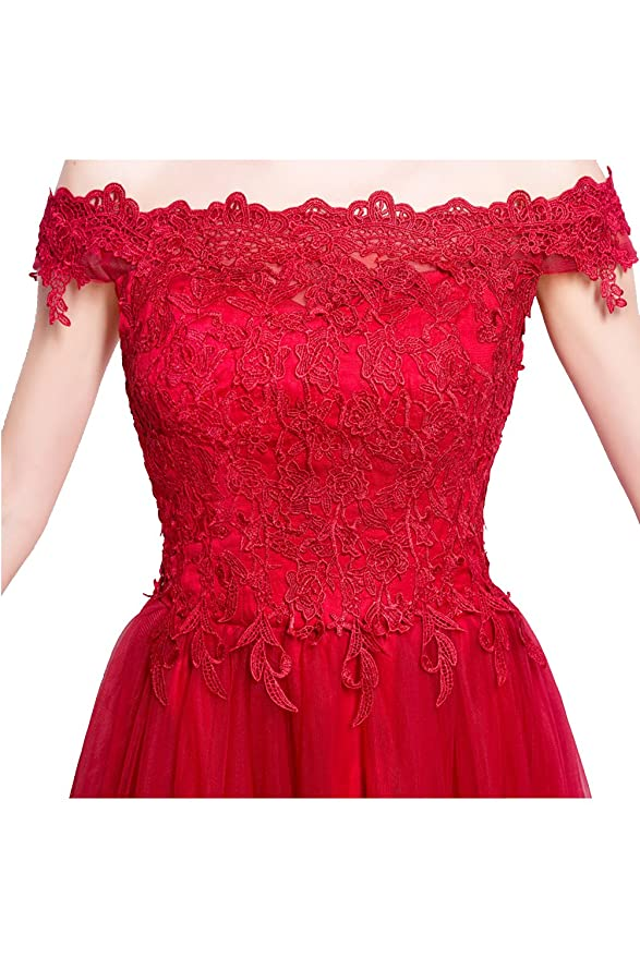 TOSKANA BRAUT Suess Rot Off-Schulter Spitze Tuell Promkleider 2017  Abendkleider Bodenlang Partykleider-XXXL-Rot: Amazon.de: Bekleidung