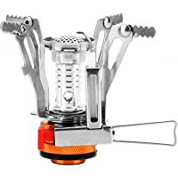 REEHUT Ultralight Portable Camp Stoves Backpacking Stove with Piezo Ignition Adjustable Valve Stainless Steel Material for Backpacking, Hiking, Riding, Mountaineering, Outdoor, Camping