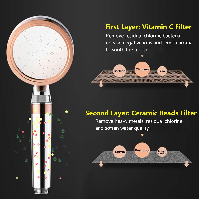 Chrome Samodra Pommeau de douche ionique haute pression /économiseur deau avec filtre /à la vitamine C int/égr/é Supprime 99/% du chlore et des impuret/és noir