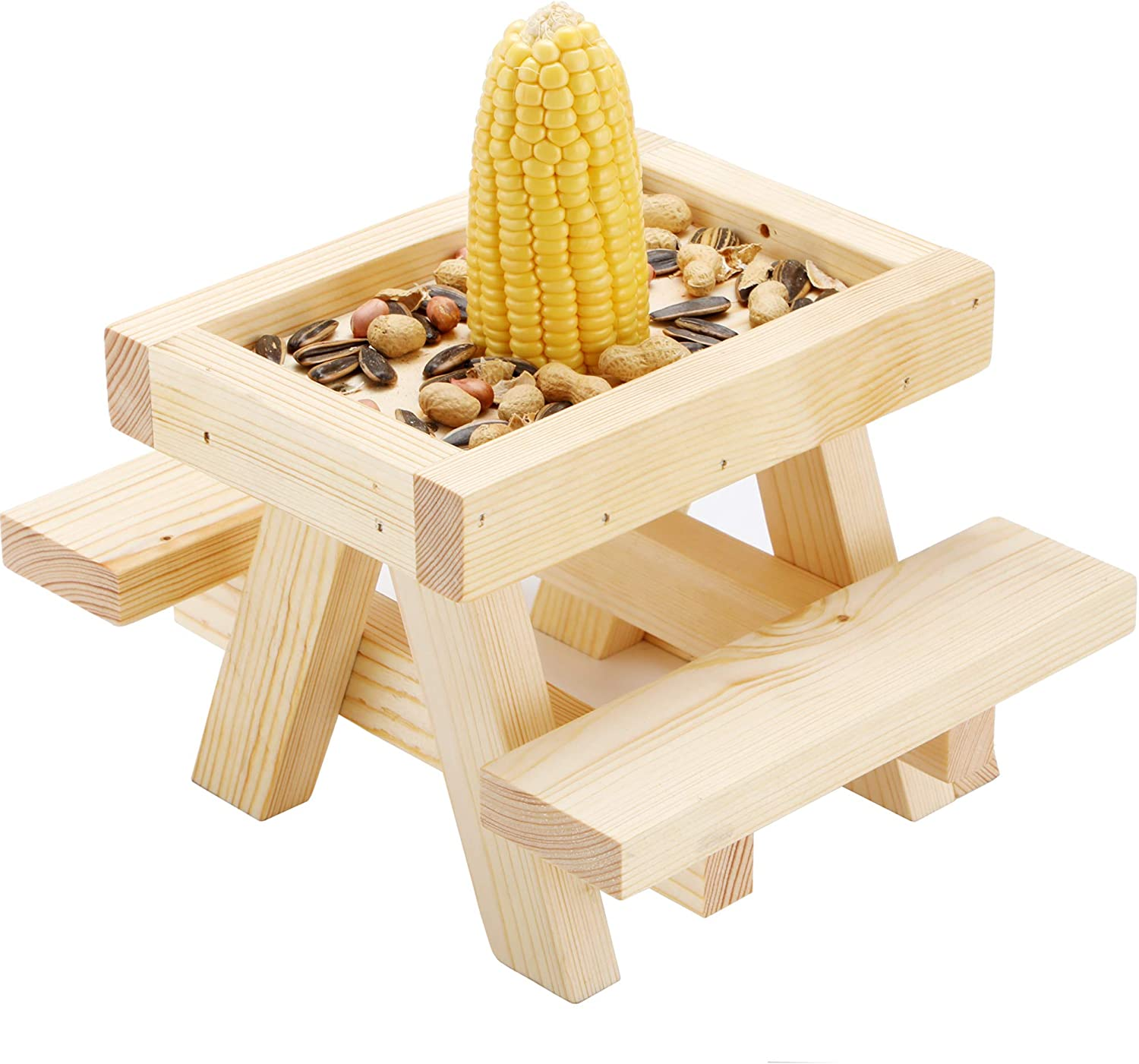 Squirrel Feeder for Outside - Mini Picnic Table Chair with Corn Cob Holder for Squirrels and Chipmunks - Wildlife Bird Animal Feeder Mounting Station