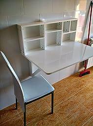 Sobuy mesa plegable de pared con estante integrado armario mesa de cocina mesa de comedor b90 - Mesa plegable cocina pared ...