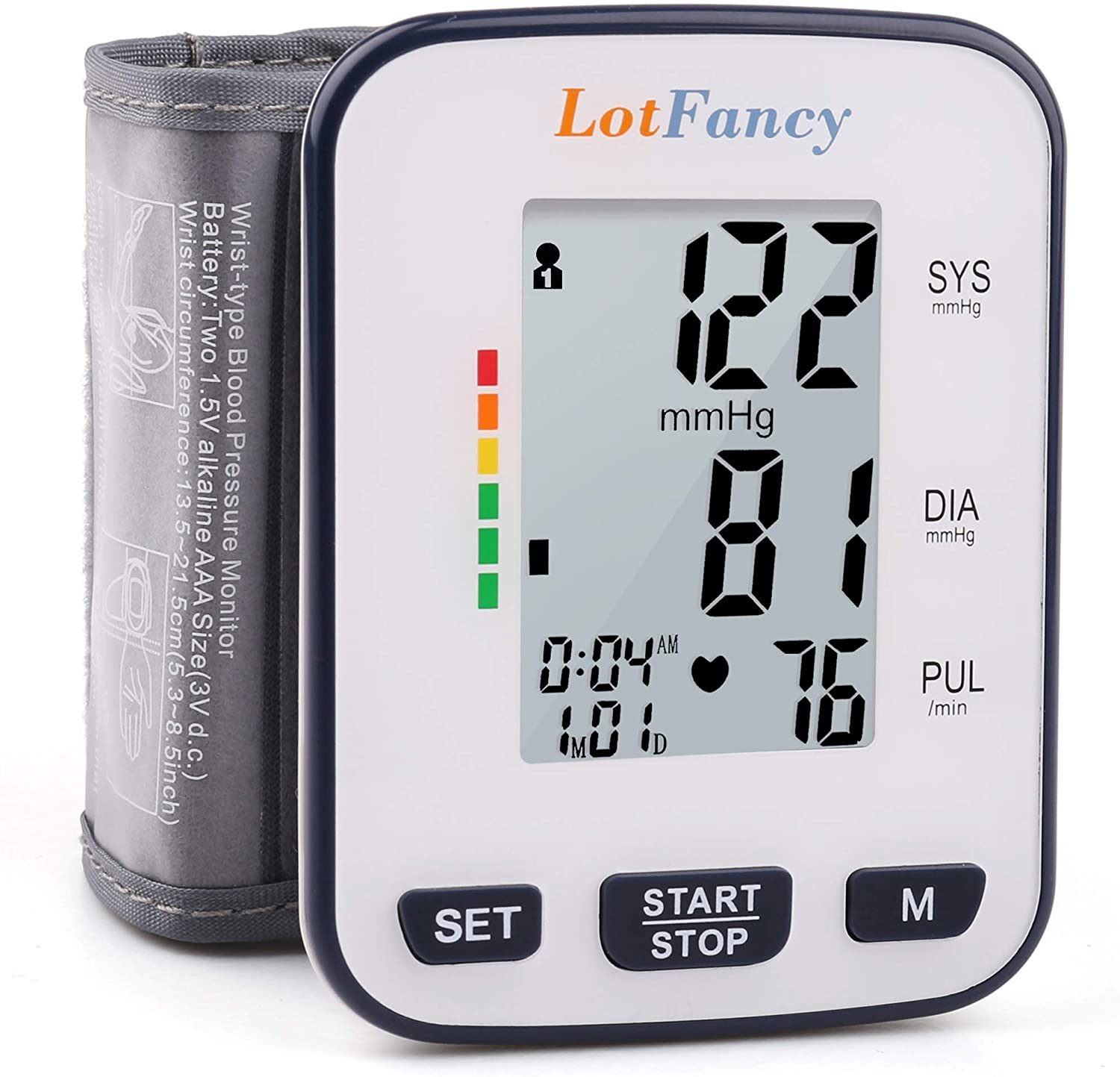 Wrist Blood Pressure Monitor Cuff by LotFancy, 2 x 120 Reading Memory, BP Wrist Cuff 5.3 – 8.5 , Digital Blood Pressure Monitor with Wristband Large LCD Display, Portable Case Included