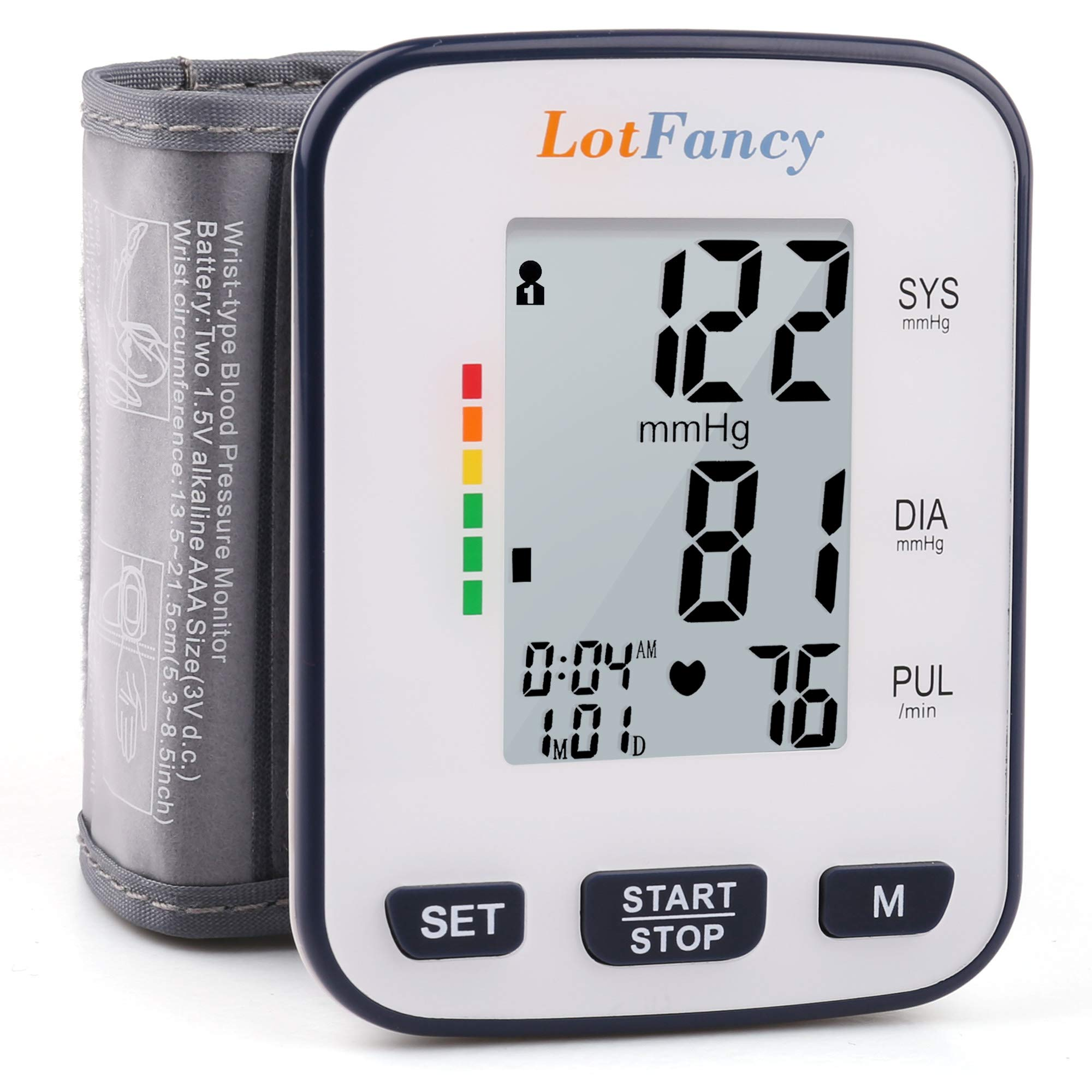 Wrist Blood Pressure Monitor Cuff by LotFancy, 2 User Mode, 120 Reading Memory, BP Cuff Size (5.3''- 8.5''), Manual Blood Pressure Monitor with Large LCD Display, Case Included