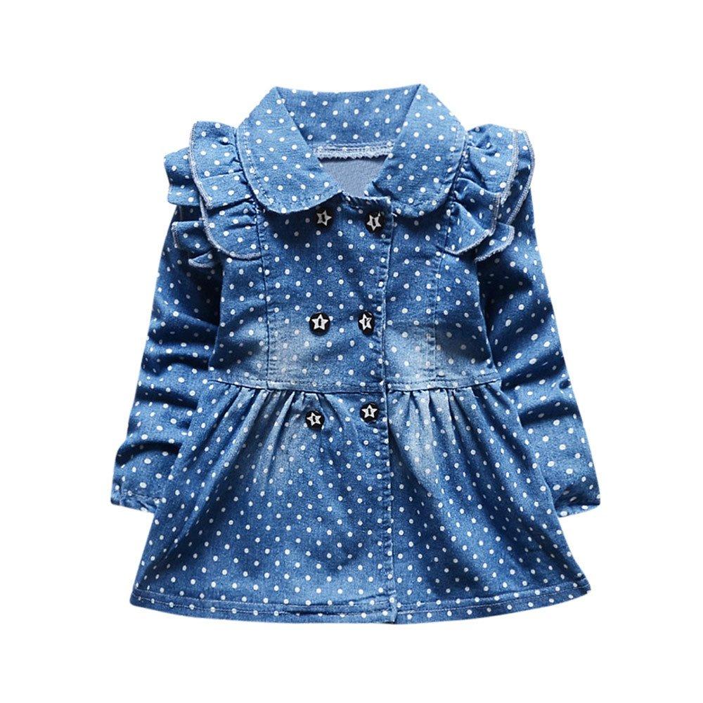 BYSTE Vestito Bambina Ragazze Abiti primavera stampa Denim Manica lunga Gonna di jeans Vestito da principessa Tops
