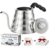 CASALEEYA 1.2 Liter Stainless Steel Gooseneck Kettle with Built-in Thermometer, 60 Disposable Filter Bags, Ceramic Dripper and Handle
