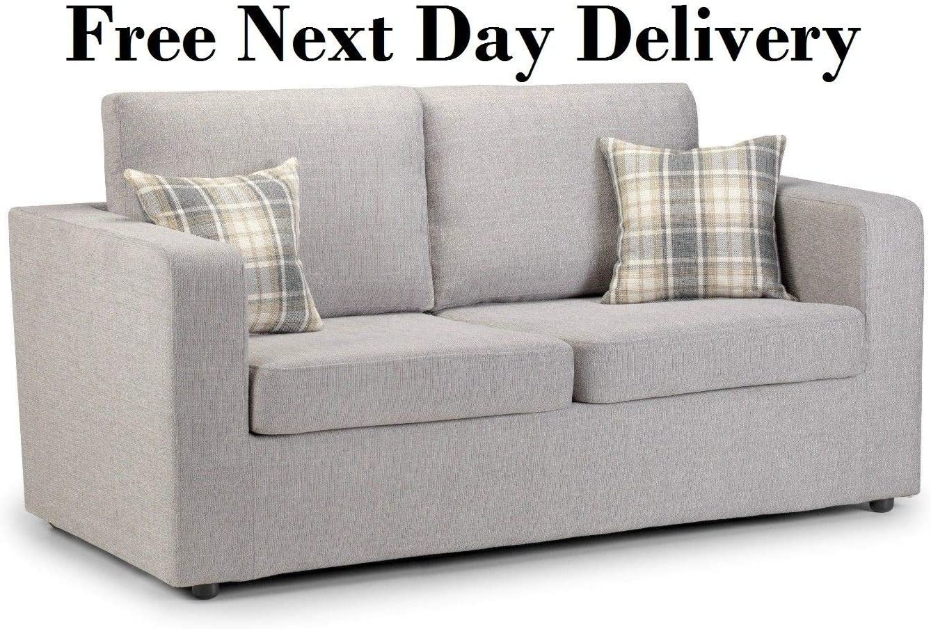 A Modern Deluxe Metal Action Sofa Bed in Silver Fabric & Cushions