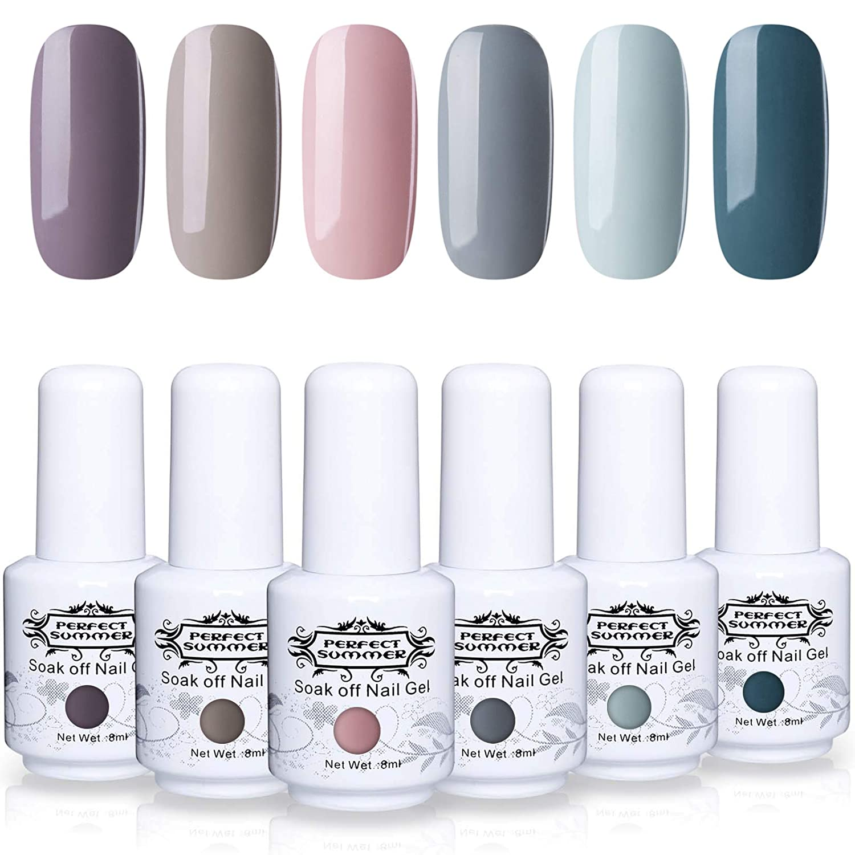 Amazon.com : Perfect Summer Gel Polish 6 Colors Nail Gel Varnish ...