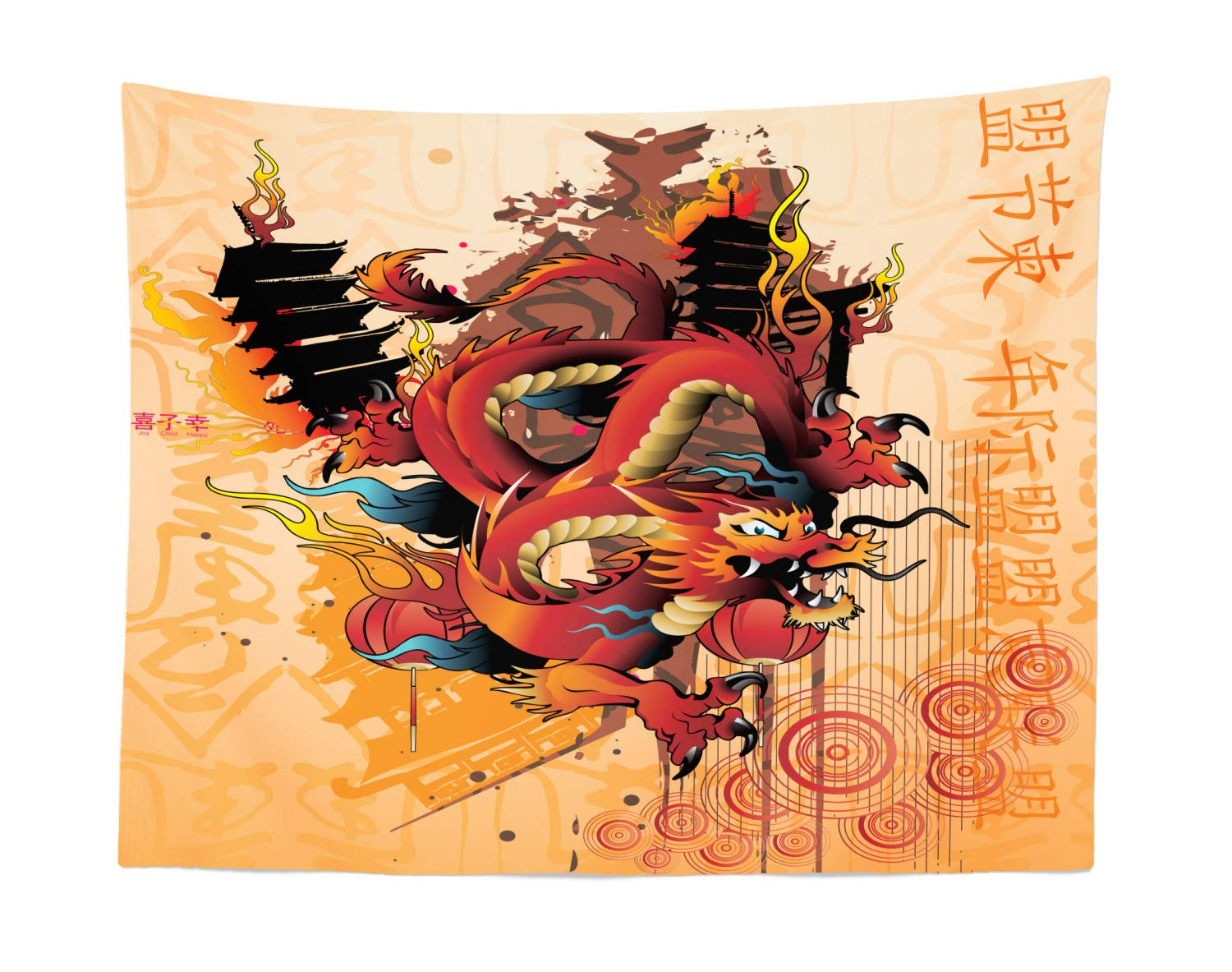 Fabric Wall Hanging Decor for Bedroom Living Room Dorm Multicolor micwid/_68750/_45x30 Traditional Oriental Pattern with Fuji Mountain and Japanese Waves Composition Print Lunarable Tokyo Tapestry 45 W X 30 L inches
