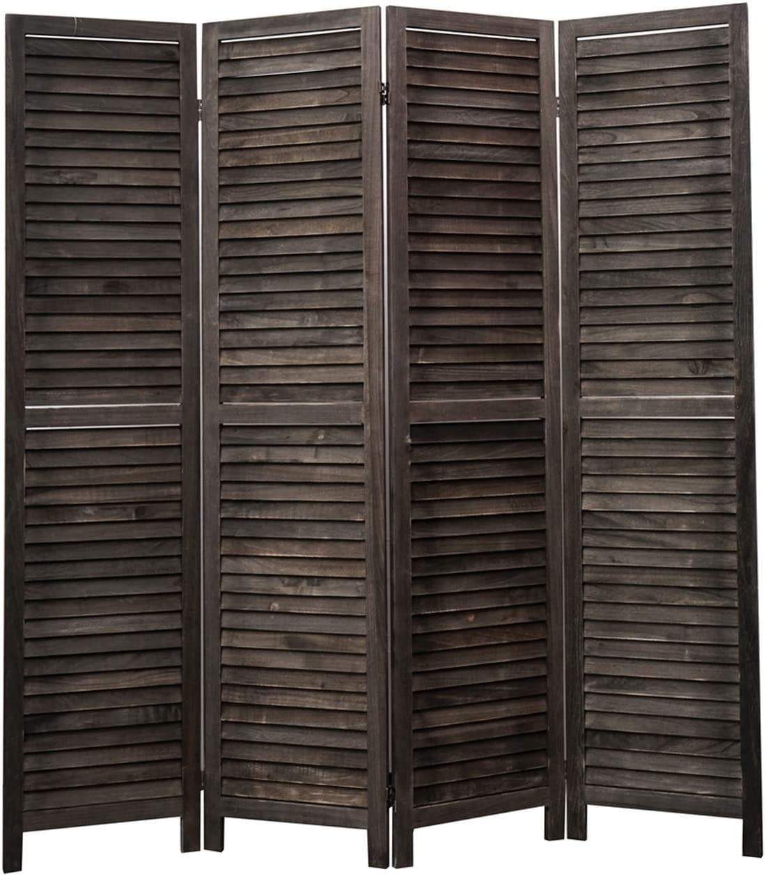 Legacy Decor 4 Panel Room Divider Full Length Wood Shutters Louver Black
