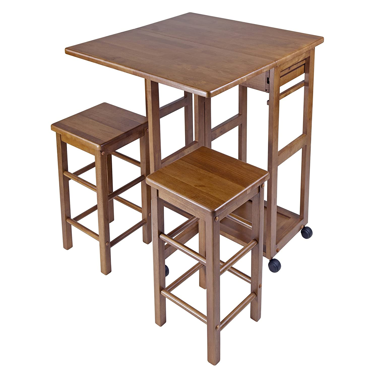 amazoncom winsome space saver with 2 stools square kitchen u0026 dining