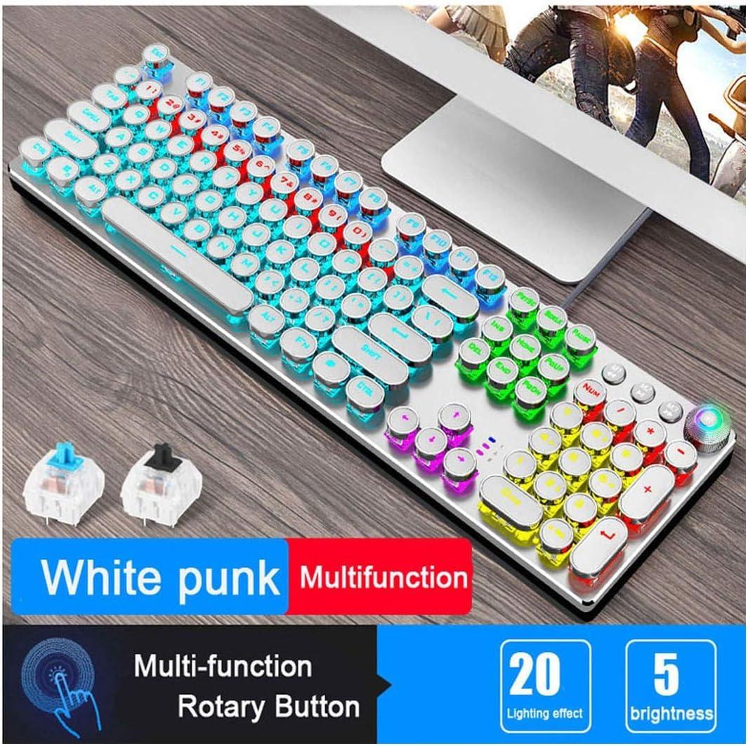Steampunk Gaming Mechanical Keyboard Metal Panel Round Retro Keycap Backlit Wired Computer Peripherals,Punk Multifunct Whit,Black Switch