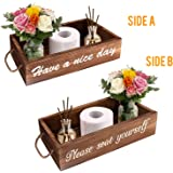 Soulcker Bathroom Decor Box, 2 Sides Funny Toilet Paper Holder, Rustic Wooden Farmhouse Bathroom Box, Diaper Organizer, Funny Home Decor Box for Bathroom, Table Counter and Kitchen (Brown)