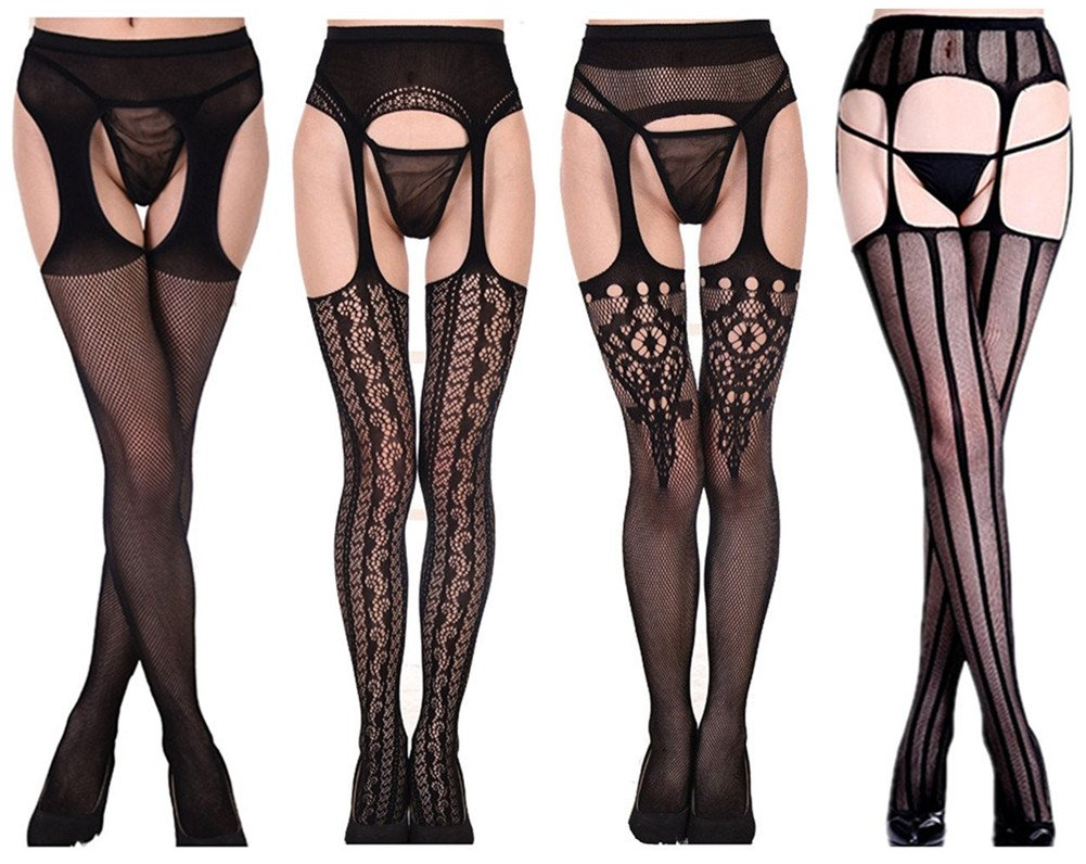 Toptim Womens Fishnet Thigh-High Stockings Tights Suspender Pantyhose Socks (Sets of 4)Black,  One Size