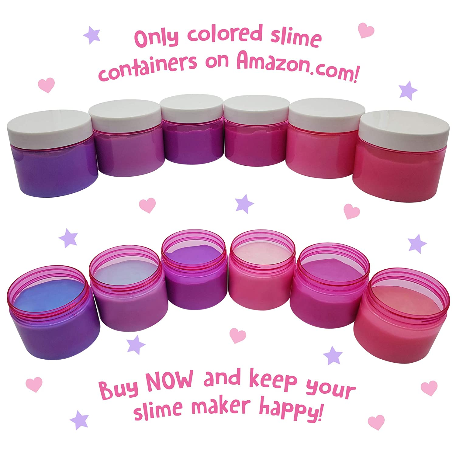 d0161ea9fcd9 Original Stationery Slime Containers with Lids 6 ounce [PERFECT SLIME  CONTAINERS, NO BPA's SAFE FOR KIDS] Small Plastic Storage Jars Screw Tops,  [FOR ...