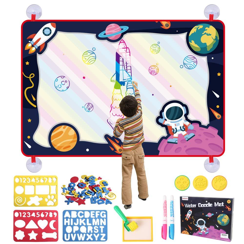 BeebeeRun Acqua Doodle Tappeto Magico 109 X 72 cm Doppia Faccia Tema di Universo e Natura con Penne Magiche Strumenti di Pittura Giocattolo Educativo Regalo per Bambini
