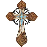 Cowhide Tooled Leather Cross with Turquoise Layer in Resin and Metal Combination