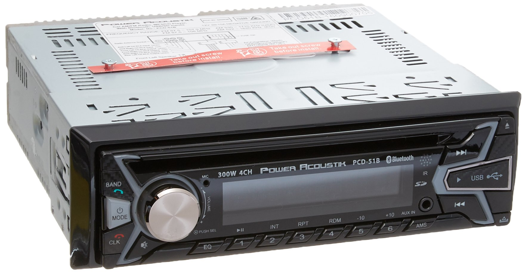 Power Acoustik PCD-51B Single-Din in-Dash Cd/Mp3 AM/FM Receiver with USB Playback (with Bluetooth) by Power Acoustik
