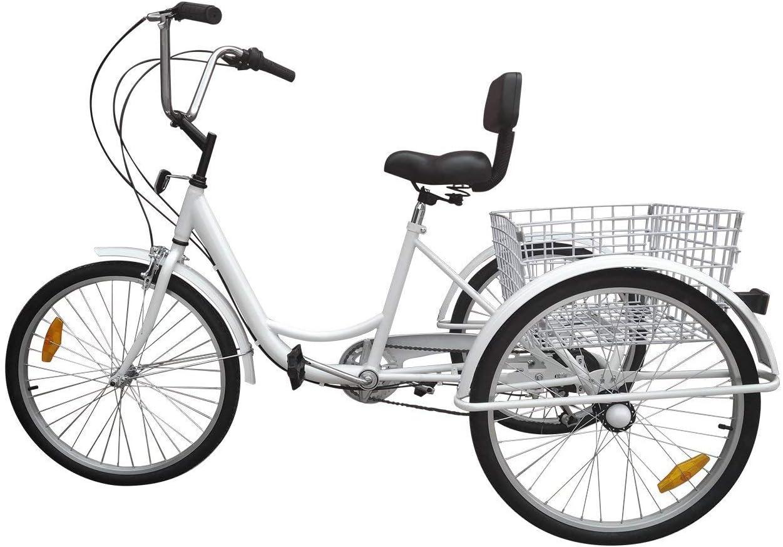 Ridgeyar - Bicicleta de tres rueda de 24 pulgadas, seis velocidades y cesta incluida, blanco