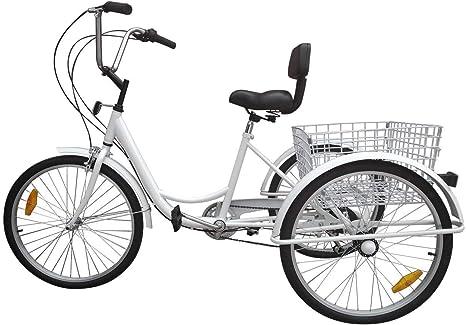 Ridgeyar - Bicicleta de tres rueda de 24 pulgadas, seis velocidades y cesta incluida, blanco: Amazon.es: Deportes y aire libre
