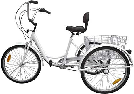 Ridgeyar - Bicicleta de tres rueda de 24 pulgadas, seis velocidades ...