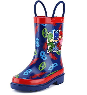 PJ Masks Little Boys Character Printed Waterproof Easy-On Rubber Rain Boots (Toddler