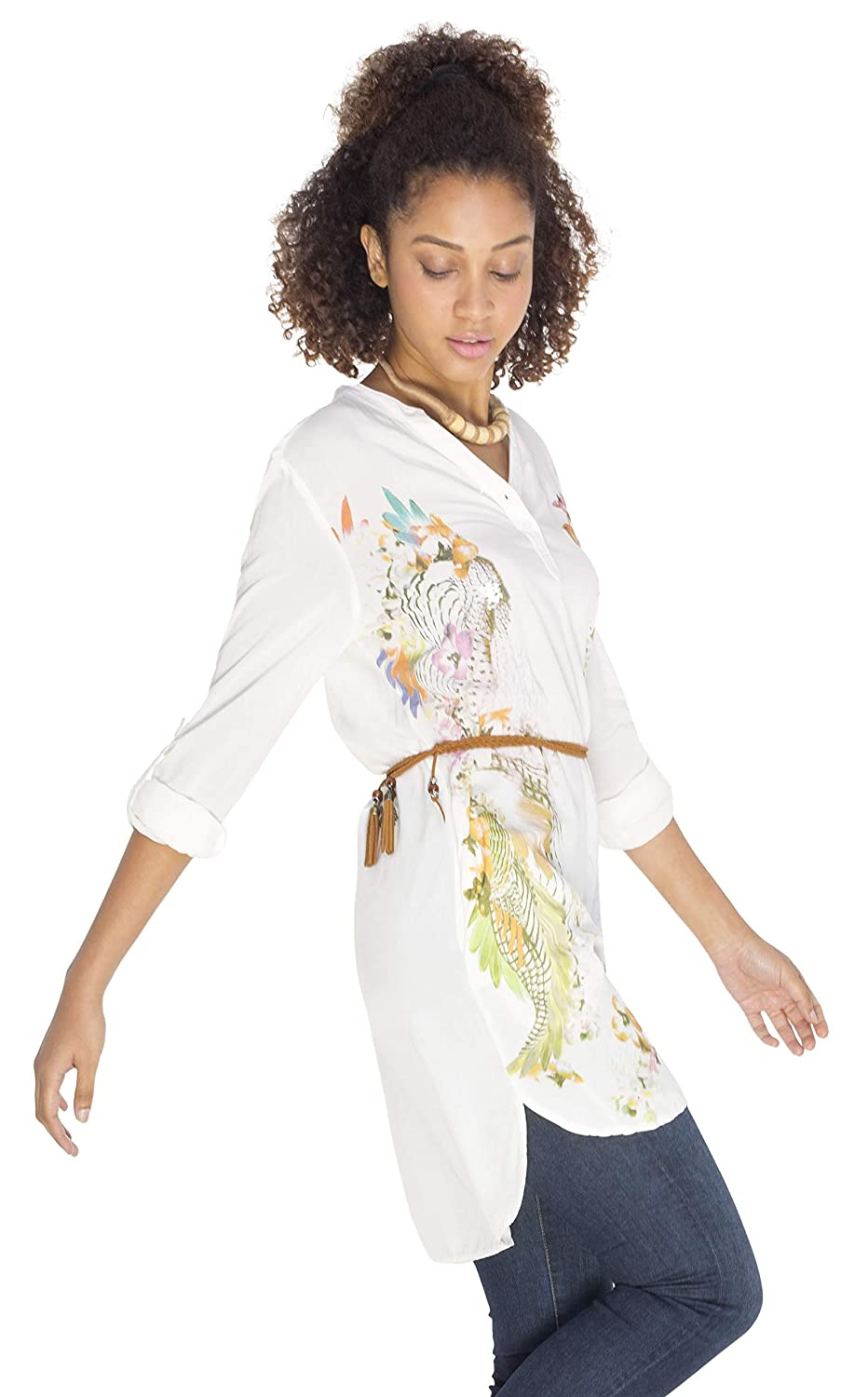 SOIZZI Fashion Women's Holiday Beach Cocktail Dress Cover Ups Kaftan With Plume Pattern Print White