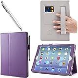 i-Blason 360 Degree Rotating Stand PU Leather Case with Auto Wake/ Sleep, Elastic Hand Strap and Stylus for Apple iPad Air - Purple