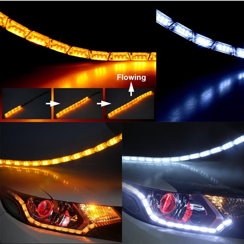Huayin 2 pcs Voiture /Étanche Flexible Blanc//Jaune Switchback Courir Feu Feu Bande lumi/ères DRL Feux de jour Feux de Signal Clignotant Clignotant For 37//12 turning light