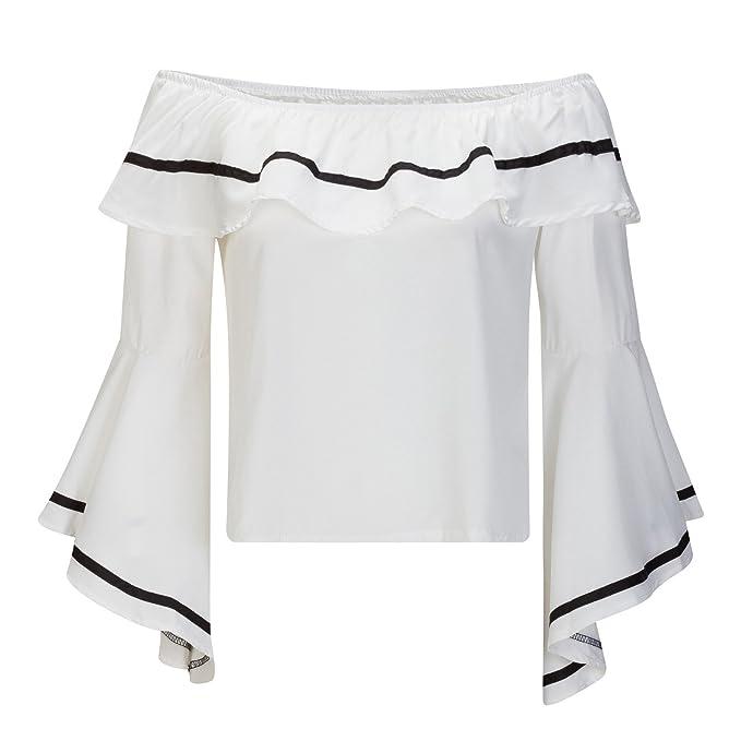 Beauty7 ES 44 Camisas Mujeres Manga Ruffle Asimétrico Sin Tirante Gasa Cold Shoulder Vestido Verano Blusas