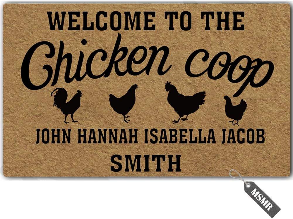 """MsMr Funny Door Mat Personalized [Your Name] Indoor Outdoor Doormat Custom Doormat Entrance Floor Mat Home Office Welcome Mat 23.6""""x15.7"""" - Welcome to The Chicken Coop"""