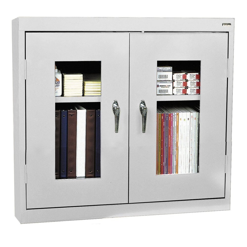 Sandusky Lee WA2V361230-05 Dove Gray Steel Clear View Wall Cabinet, 1 Adjustable Shelf, 30'' Height x 36'' Width x 12'' Depth