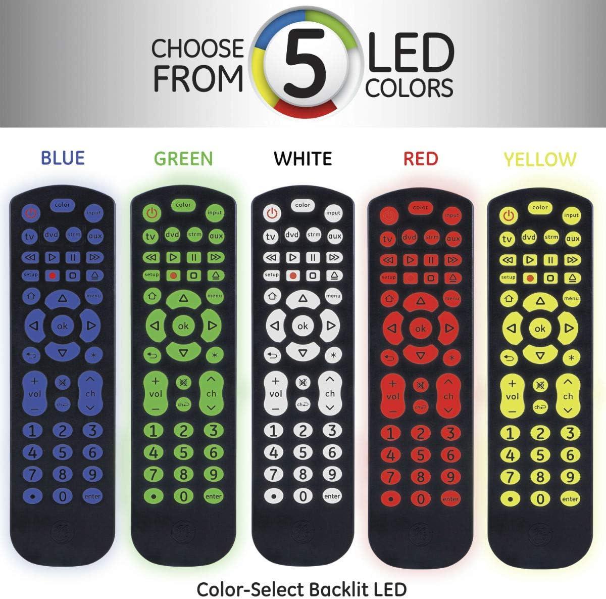 GE Universal Remote Control, Color Select Backlit, For Samsung, Vizio, LG, Sony, Sharp, Roku, Apple TV, RCA, Panasonic, Smart TVs, Streaming Players, Blu-Ray, DVD, Simple Setup, 4-Device, Black, 44220