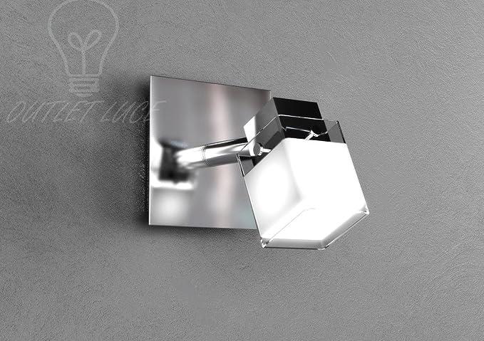 Faretto applique lampada luce vetro quadrato bordi trasparenti