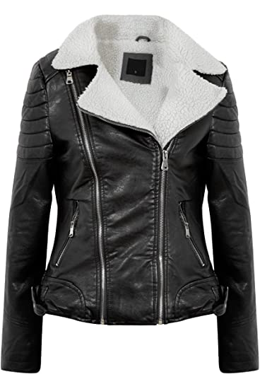 Gg Womens Faux Leather Aviator Faux Furs Lined Ladies Jacket Amazon