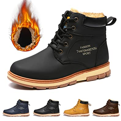 gracosy Mens Snow Boots Winter Warm Fur Lined Martin Boots Fashion Antiskid  Lace Up Chukka Flat 2f0edee2fed9