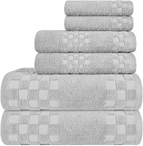 DIAOJIA Soft Cotton Bath Towels 6 Piece, Turkish 100% Cotton Premium & Luxury Towels Bathroom Sets Soft and Fluffy 2 Bath Towel 27 x 55 inch 2 Hand Towel 13x29 inch & 2 Washcloth 13x13 inch (Gray)