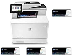 HP Color Laserjet Pro Multifunction M479fdw Wireless Laser Printer (W1A80A) with High Yield 4 Color-Toner-Cartridges