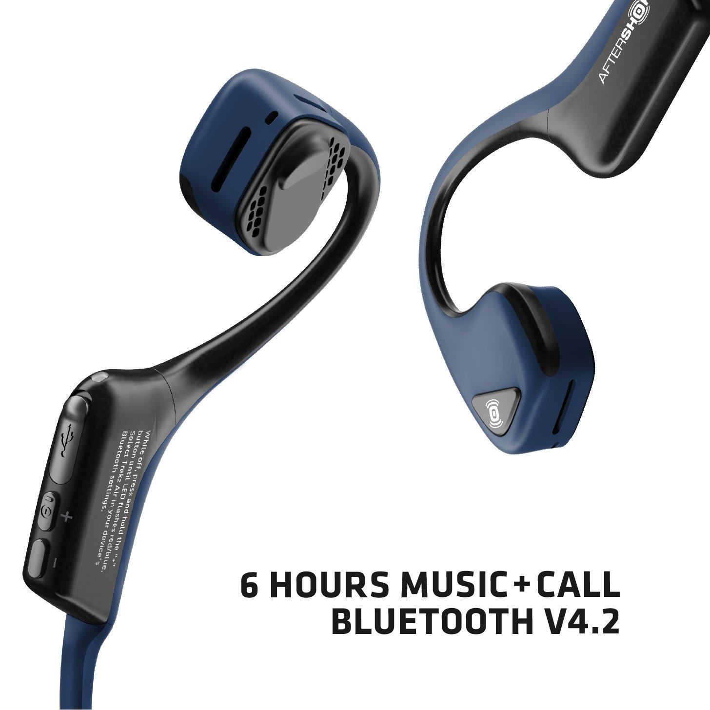 Gris AFTERSHOKZ Trekz Air Sport Bluetooth Bone Conduction Ecouteurs Conduction Osseuse Casque Bloothooth Sans Fil Avec Micro