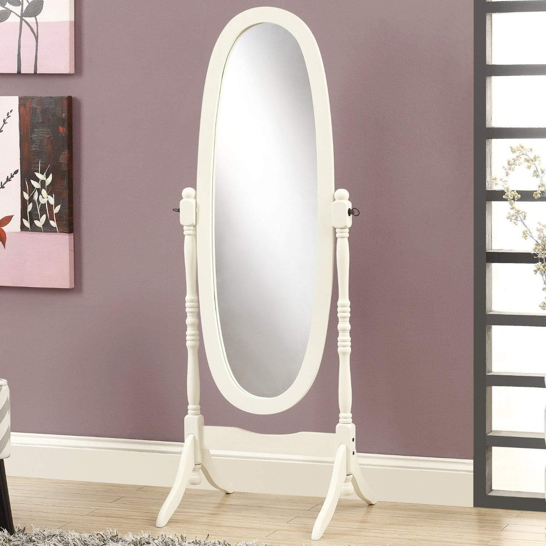 Cherry GTU Furniture Swivel Adjustable Full-Length Oval Wood Cheval Floor Mirror in White//Black//Cherry//Oak//Silver//Gold Finish
