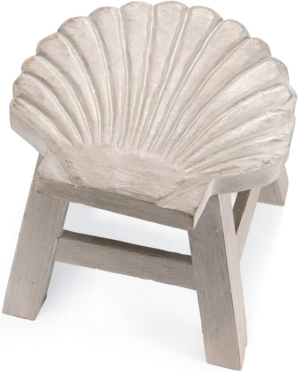 Scallop Shell Hand Carved Wooden Foot Stool Whitewash Finish