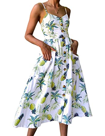 52f2012d020 ISASSY Femmes Floral Print V-Neck Robe d été Spaghetti Strap Button Swing  Midi