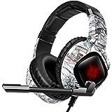 PANFREY Audífonos Gamer para Xbox One PS4 PC Switch, Auriculares Gaming con cancelación de Ruido con luz LED y micrófono, ade