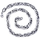 Dangerous Elegance: Unisex Stainless Interlocked Oval Link 20 Inch Chain Necklace