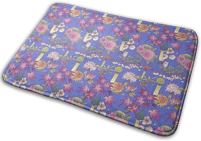 """Imagen deBLSYP Felpudo Japanese Garden Wind Chime Leaves Blue Doormat Anti-Slip House Garden Gate Carpet Door Mat Floor Pads 15.8"""" X 23.6"""""""