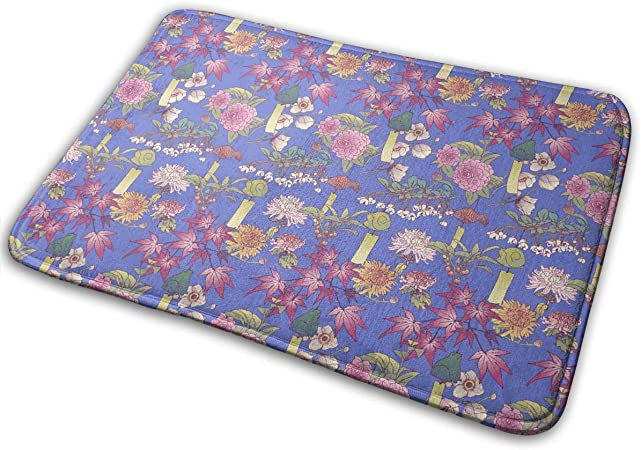 "Image ofBLSYP Felpudo Japanese Garden Wind Chime Leaves Blue Doormat Anti-Slip House Garden Gate Carpet Door Mat Floor Pads 15.8"" X 23.6"""